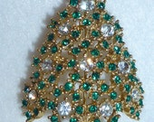 Vintage Eisenberg Christmas Tree Brooch Pin Heavy Bling Rhinestones Gold Green and Diamond Colored  Signed Collectable Jewelry New Condition