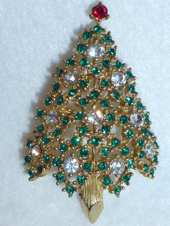 Vintage Eisenberg Christmas Tree Brooch Pin Heavy Bling