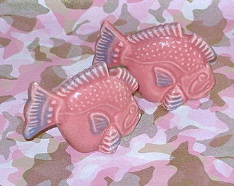 50's Ceramic Pink Glazed Fish Salt and Pepper Shakers