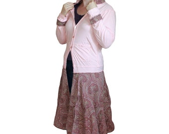Upcycled light coat, hoodie, pink with patterned print skirt, pretty in pink