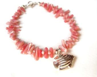 Pink Coral Bracelet, Silver Fish Bracelet, Angel Fish Charm Bracelet, Beach Jewelry UK