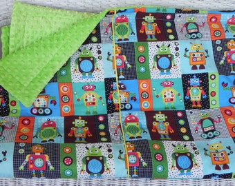 Twin Minky Comforter - Robot Block Fabric with Your Choice of Minky Fabric on Back -Option to Add a Pillow Sham