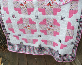 Handmade quilt Holiday Heart Pink and Black Girly Teen Tween Heart Love Checkerboard Ladybug Throw Quilt