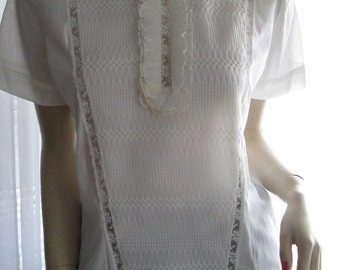 On Sale------1950's NA-MA of Hollywood Short Sleeve White Blouse