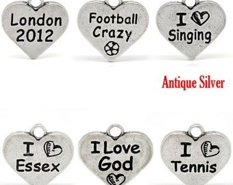 Silver Message Charms - Antique Silver Hearts - Assorted Messages - 17x17mm - 6pcs - Ships IMMEDIATELY from California - SC468