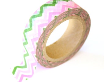 SALE Washi Tape - Pink & Green Chevron - 15mm x 10m - TP224