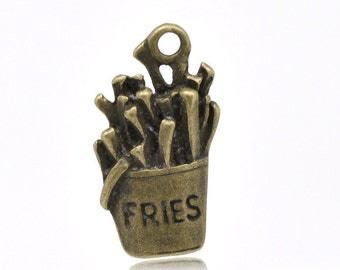 French Fries Charms - Antique Bronze - 19x10mm - 10pcs - Ships IMMEDIATELY  from California - BC505