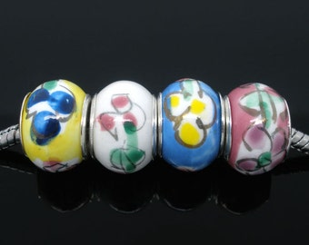 SALE Ceramic Flower Beads - 14x10mm - 4pcs - Ships IMMEDIATELY  from California - B563