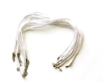 "10 Organza Necklaces - White - Ribbon Cord Necklaces with Clasps - 17"" - Ships IMMEDIATELY from California - CH765"
