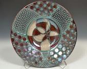 """10.5 """" New Fine Art Raku Mandala Pottery Bowl by John Turner"""