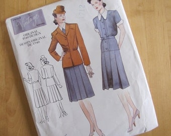 Uncut Vogue 2196 Sewing Pattern - Vogue Vintage Model - Misses Jacket, Dress & Belt - Size 10