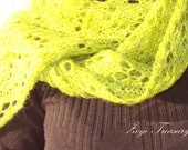 Green Mohair Scarf / Green Mohair Shawl / Spring trend color