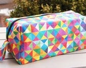 Own fabric design of colorful boxy  toiletry bag made out of cotton/linen