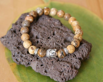 Yogi inspired Buddha bracelet with pure natural picture jasper, silver accent beads and a Buddha head charm