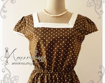 Brown Polka Dot Dress Tea Party Garden Cocktail Dress Timeless Vintage Inspired Sleeve Dress Wedding Party Dress -Size M-