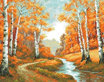 Instant Download Counted Cross Stitch Chart PDF Pattern N43ld - Autumn landscape (version 2)