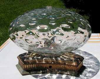 50s Glass Bubble with Graduated Bubble Pattern Clear for Repurpose Holes each end