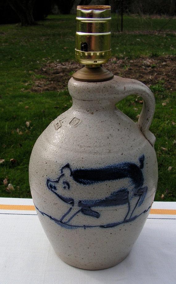 Vintage Cobalt Blue Pig Stoneware Crock Lamp Rowe Pottery