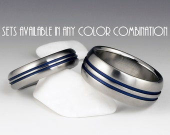 Titanium Ring Unique Wedding Band Set, Engagement, Promise or Anniversary Set with Domed Profiles and Two Pinstripes