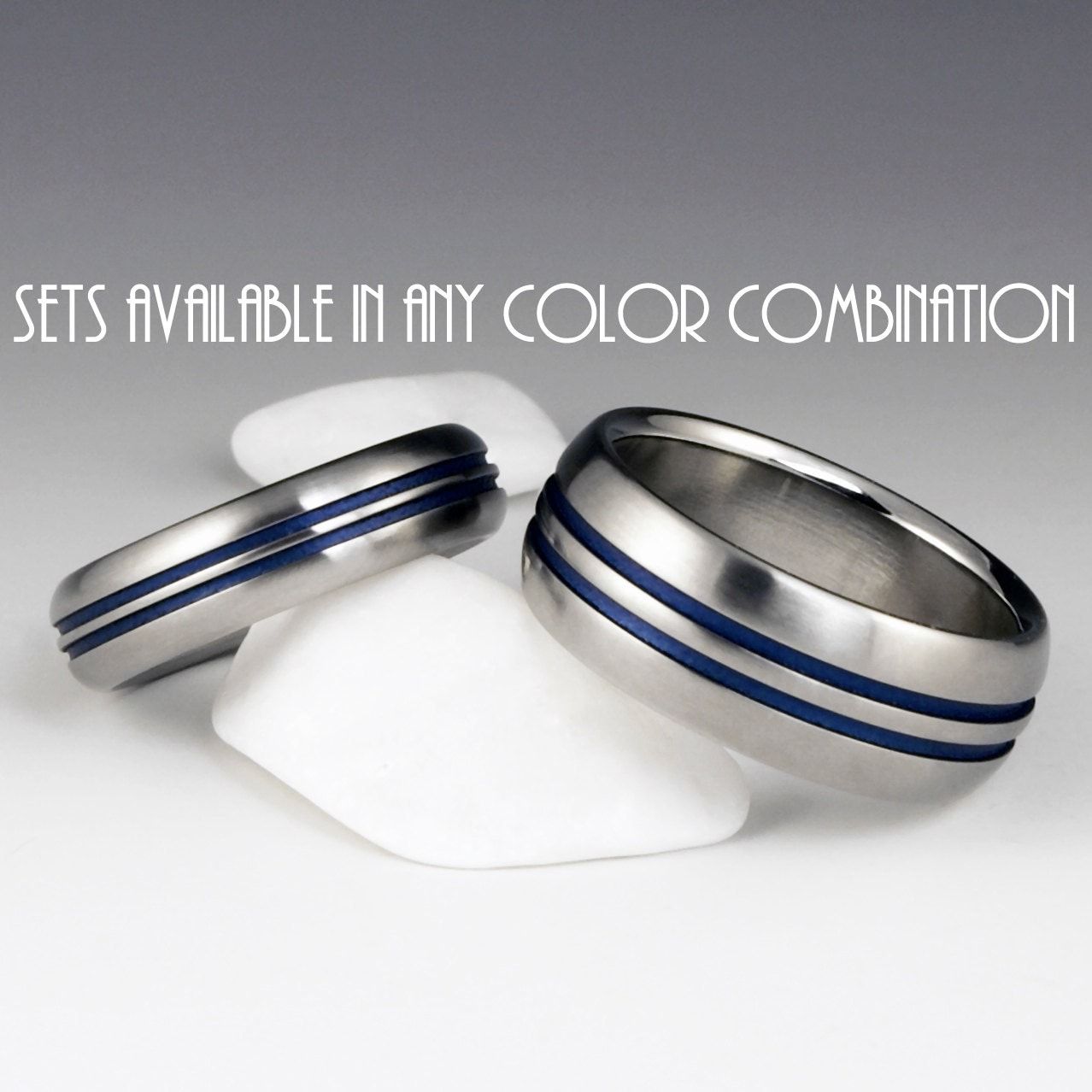 titanium ring unique wedding band set engagement promise or