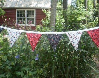 Patriotic Fabric Banner with flags Outdoor Garland  Decoration Red White Blue Stars