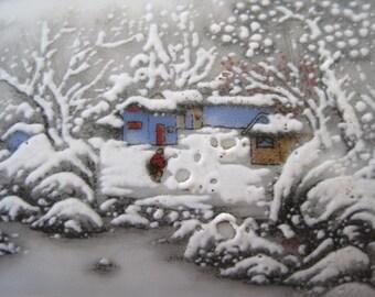 Porcelain painting landscape art inkstone Jingdezhen China