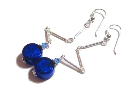 Murano Glass Blue Earrings, Cobalt Earrings, Long Earrings, Venetian Jewelry, Italian Jewelry