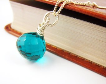 teal blue necklace teal quartz necklace blue necklace teal necklace peacock blue jewelry sterling silver wire wrapped pendant gift idea