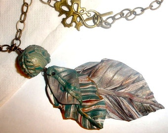 Summer Leaf necklace earring set polymer clay bronze chain