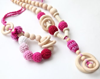 Bright pink, set of 2. Teething ring toy and nursing necklace. Pink and red rattle for baby and mom.