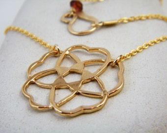 Gold flower pendant gold star necklace mandala necklace