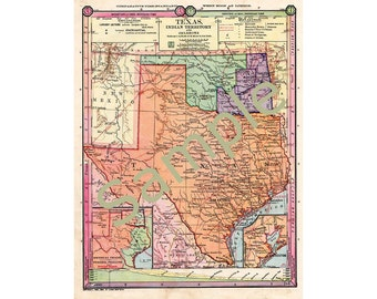 Old Texas Map, Oklahoma, Indian Territory Instant Download 1880s Color Map, Oklahoma State Map, Printable Map of Texas, Cartography