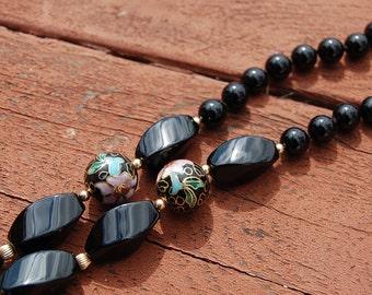 Sale~ Vintage 80's CLOISONNE black glass bead NECKLACE Hippie Gypsy Boho