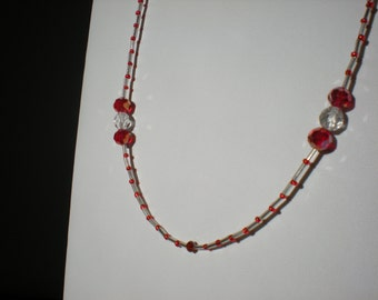 Red and Silver Crystal Snowball Necklace