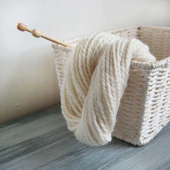 Pure undyed Finnish handspun wool in natural creamy white - 45 grams of worsted weight yarn