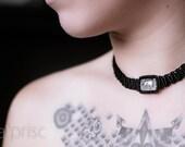Macrame rutilated quartz black tourmaline necklace
