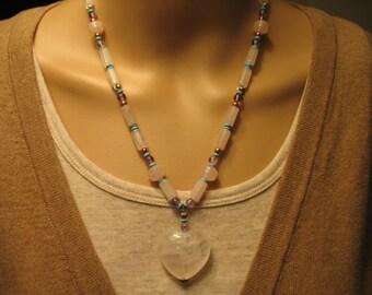 Pink Quartz Heart Necklace