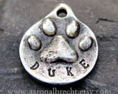 Pet Tag - Dog Tag - Pet ID - Dog ID Tag - Custom Paw Print Handmade