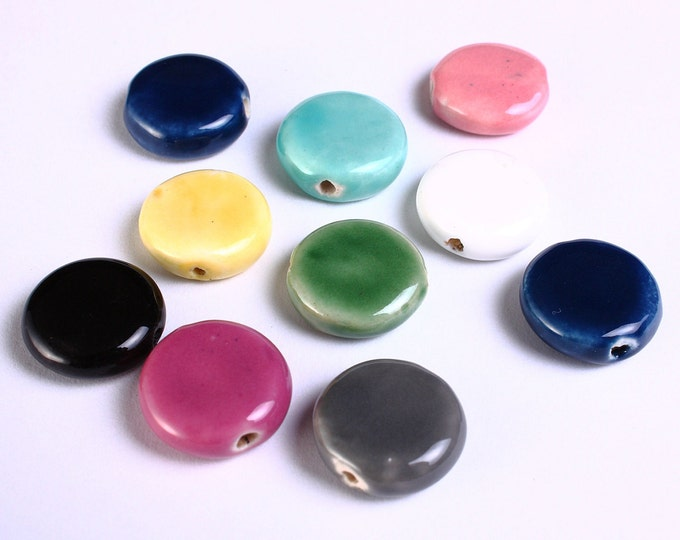 16mm mixed color handmade beads - 16mm bright glazed porcelain bead - 16mm disk flat round - 10 pieces (M002)