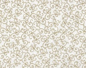 "1 yard 108"" Quiltbacking, Metallic by Blank Quilting, Gold and White Fabric, White Fabric, 01262"