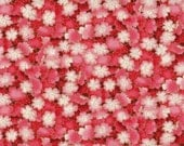 Cherry Fabric, Metallic Fabric, Cherry Blossom Fabric, Pink Fabric, 1 yard of fabric - thebusybeequilting