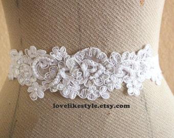 White Sequined and Pearl Beading Lace Sash, Bridal Sash, Bridal headband, Bridesmaid Sash / SH-40