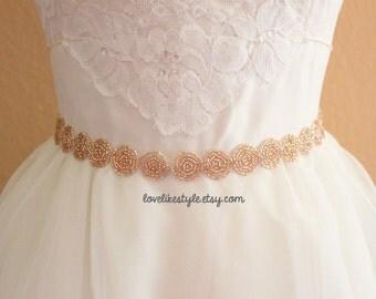 Peach Round Beaded Lace Sash , Bridal Sash , Bridesmaid Sash, Flower Girl Sash / SH-36