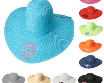 Wide brim fashion sunhat monogrammed