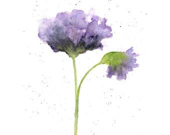Watercolor flower, flower art, watercolor poppies, abstract flower painting, purple, botanical, flower print- 8X10