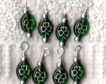 Czech Seed Beads  8 - 4 leaf clover charms