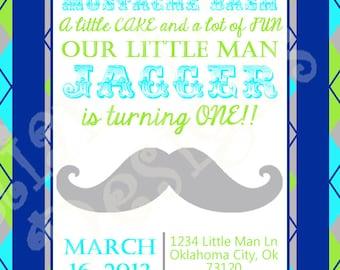 Little Man Mustache Bash Invitation - Mustache Birthday Invitation - PRINTABLE Invitation and Thank You Card