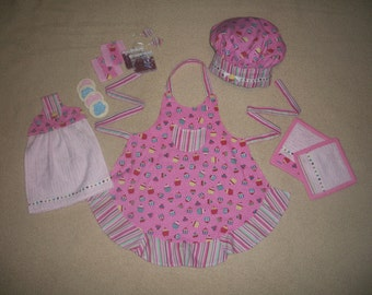 Little Baker or Chef Apron, Hat, Potholders, Towel, and more