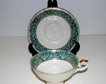 Bavaria porcelain  cup and saucer    mint and gold cup and saucer