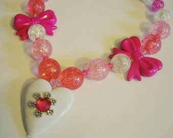 Belle of the Ball Super Chunky Bead Stretch Necklace (Pink): Little Girl's Power Jewelry